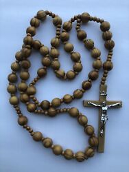 Wall Rosary Giant Big Beads Rosario Natural Wood Jesus Wooden Cross Xl Large 40