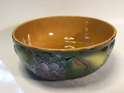 Antique French Majolica Andldquofruit Bowlandrdquo By Salins-les-bains C.1900 +