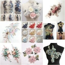 Sequin Lace Mesh Applique Trims Embroidery For Diy Wedding Dress Clothing Sewing