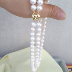 Two Strands 9-10mm South Sea White Pearl Necklace 1819 14k Yellow Gold P Clasp