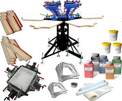 6 Color 6 Station Screen Printing Kit Stretcher And Screen Frame Squeegee Ink