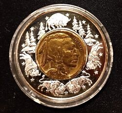 2003-06 Lewis And Clark Medal W/ Gold Plated 1929 Buffalo Nickel