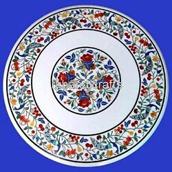 Round Marble Center Table Top Stone Dining Table With Cottage Crafts From India