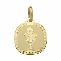 10k 14k 18k Yellow Gold Rounded Square Communion Pendant 2.6-2.9g New N1810