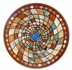 Red Marble Dining Table Top Handmade Geometrical Art Meeting Table For Office