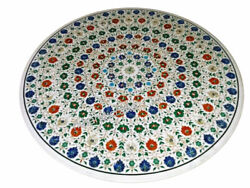 Multi Gemstones Floral Work Inlay Dining Table Top Marble Island Table For Home