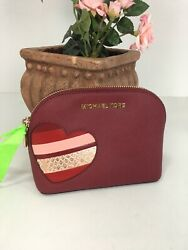 New Michael Kors Cosmetic Bag Heart Appliqué Love Leather Zip Cherry Red M6 $89.99