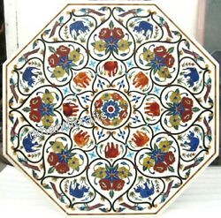 Luxurious Pattern Inlay Stone Meeting Table Top White Marble Dining