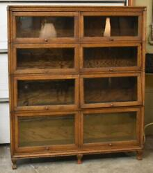 Antique Double Wide Oak Barrister Bookcase By Widman 8 Sections