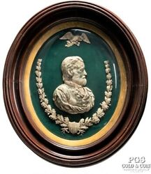 Circ1865 Gen.ulysses S Grant Silvered Bust By Powell Civil War Curved Frame16353