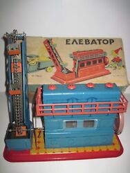 Antique Elevator Kiev Vatutina Big Machine Box Tin Toy Ussr Russia 1950-60s Rrr