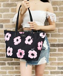 Kate Spade Hayden Floating Poppies Top Zip Nylon Tote Black Pink Floral Rose $119.00