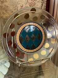 Rare/ Retired -mackenzie Childs- Harlequin, Gold Dot Glass Plate- Signed And Dated
