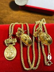 """18k 750 Fine Real Gold 18"""" Women's Queen Set Necklace And Earring 2mm 6.62g"""