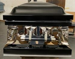 New Beautiful One Of A Kind Black/silver Mirror Siding Silver Hardware