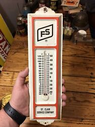Vintage Fs Farm Services Tin Thermometer St Clair Works Sign Farm Feed