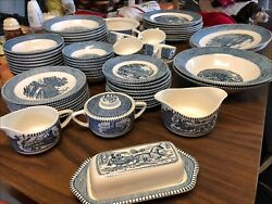 Currier And Ives Royal China Blue