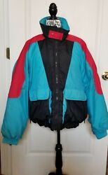Color Block Porsha By Winer Insulated Lg Puff Winter Ski Snow Coat Red Blk Blue
