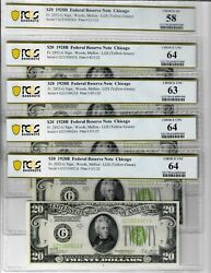 5 Csn 1928-b 20 Frn Chicago Pcgs Unc Consecutive Serial Notes Pcgs Certified