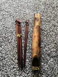 Antique Carved Wooden Drawing Pens In Bamboo Case