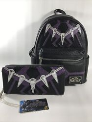 New Loungefly Disney Marvel Avengers Black Panther Mini Backpack And Wallet
