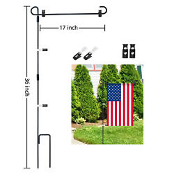 Wrought Iron Yard Garden Flag Stand Pole Black Post Outdoor Decor Holder Easy Us