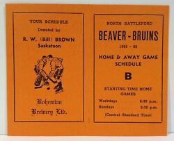 1965-66 North Battleford Beaver Bruins Hockey Home And Away Game Pocket Schedule