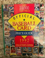 Baseball Card Price Guide 1992 Collectorand039s Edition Over 33.000 Card Prices Book