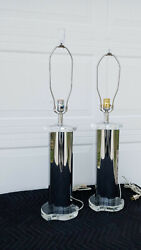 Vintage Mid Century 70's Pair Of Bent Folded Chrome And Lucite Table Lamps