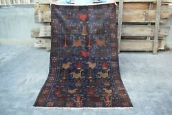 Amazing Antique Hand Knotted Afghan Pictorial Wool Rugauthentic Area Rug