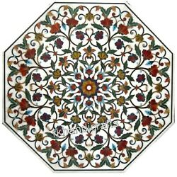 Hand Crafted Reception Table Top Floral Pattern Inlay Marble Dining