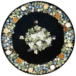 Round Marble Patio Sofa Table Top Antique Work Coffee Table With Gemstones Art