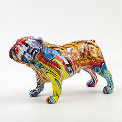 Hand Painted Bulldog Sculpture Dog Figurine Ornament Home Decoration Gift A
