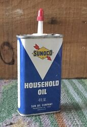 Vintage 4 Oz Sunoco Household Oil Oiler Tin Can Gas Service Station Advertising