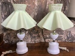 Pair Vintage 1950's White Milk Glass Hobnail Electric Lamps Green Ruffle Shade 2