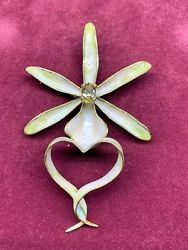Custom Designed 18 Kt Gold Enameled Ghost Orchid Pin Created By Ruven Perelman