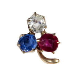 Antique Victorian 10k Gold Diamond Sapphire And Ruby Clover Stick Pin