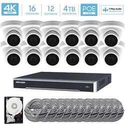 Hikvision 16ch 4k Poe Nvr 12x8mp Ip Turret Audio Camera Cctv Security System