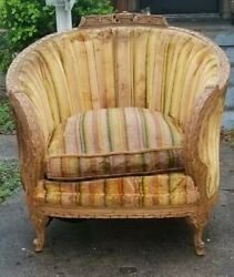 Antique Original C 1880's Louis Xvi French Bergere Carved Walnut Parlor Chair