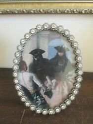 Jay Strongwater Silver Scalloped Edge Oval Picture Frame Crystal 6.5x5