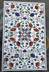 Rectangle Marble Garden Table Top Hand Inlaid Dining Table With Multi Stones Art