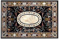 Marble Lawn Table Top Elegant Pattern Inlay Stone Dining Table From Vintage Art
