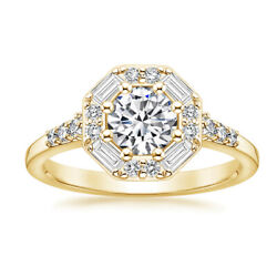 0.95 Ct Real Diamond Women Wedding Ring Solid 14k Yellow Gold Size 5.5 6 7 6.5