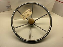 Attwood 14 Inch Stainless Steel Helm Wheel 3/4 Inch Shaft Wood Hub Cap A6