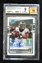 2020 Donruss Optic Jalen Hurts On-card Auto Rated Rookie 106/150 164 Bgs 9 Mint
