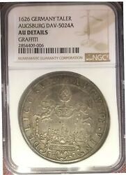 1626 Ngc Au-details Germany- Augsburg Thaler, Very Rare Beautiful Coin