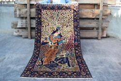 Amazing Antique Umar Khayyam Pictorial Hand Knotted Afghan Wool Rugauthentic