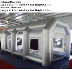 Used Oxford Inflatable Paint Room Tent Portable Folding Mobile House 2 Blowers
