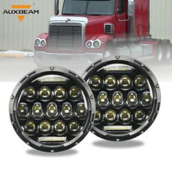Auxbeam 7 Led Headlights Hi/lo Black Projector Fit Freightliner Century Class