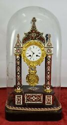 Table Clock With Urn. Valery. Paris. Wood With Marquetry. Xix Century